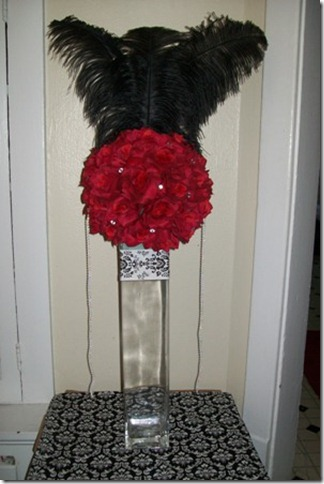 pomander and feather centerpiece