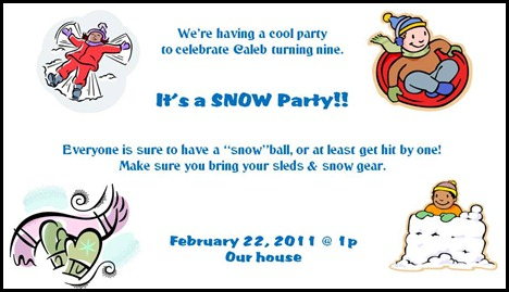 snow party invite